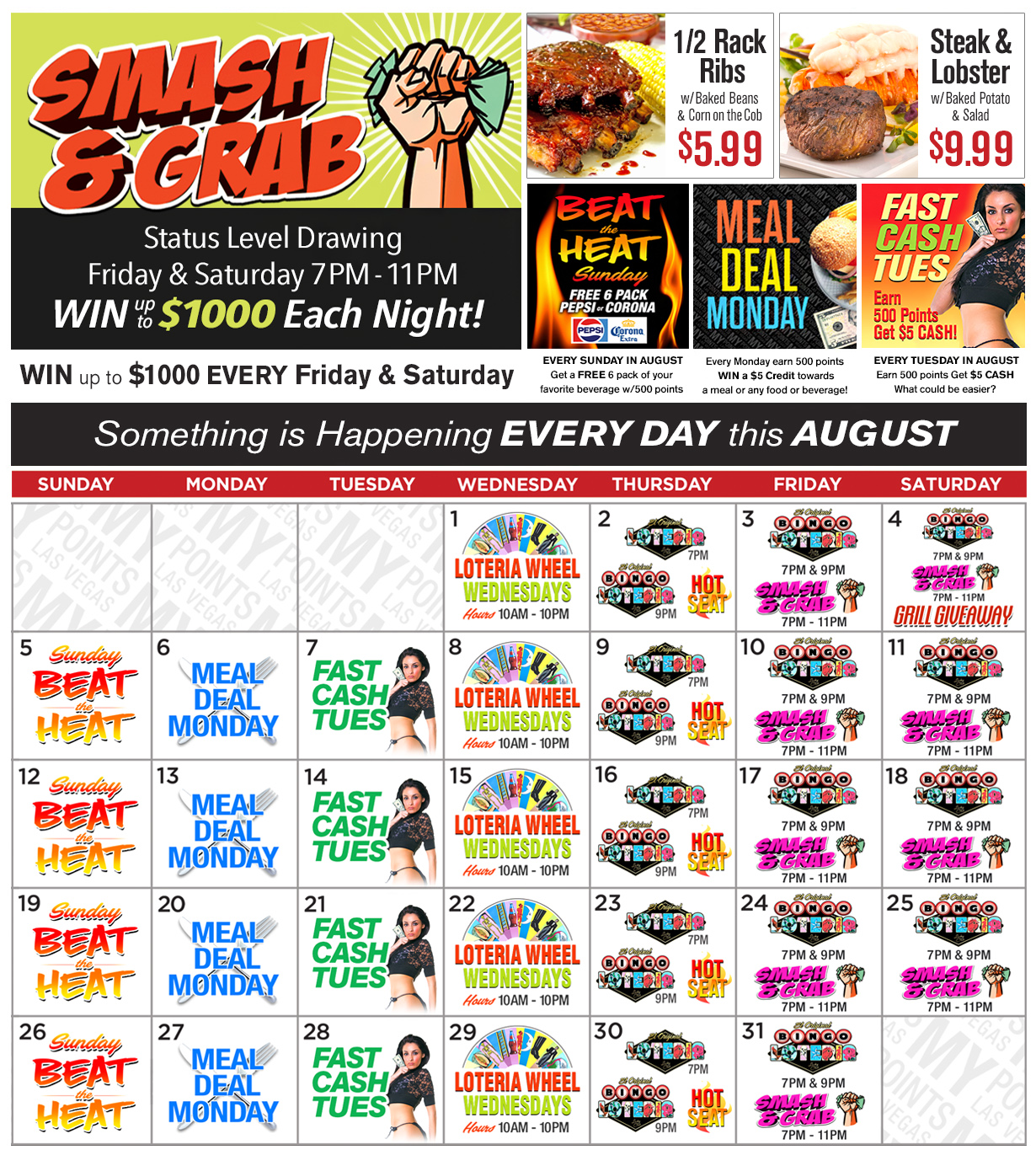 Lucky Club Upcoming Promotions - August 2018